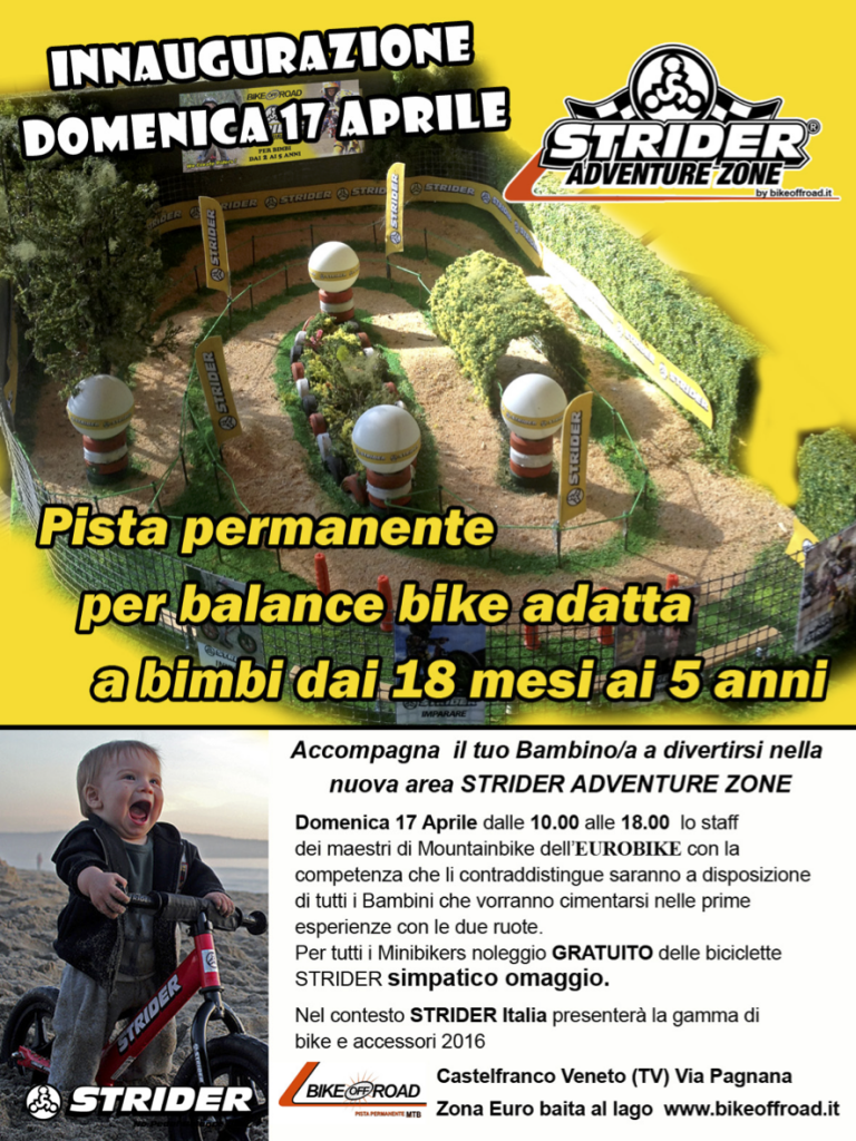 Inaugurazione Strider Adventure Zone - Pista permanente per bambini 1,5-5 anni