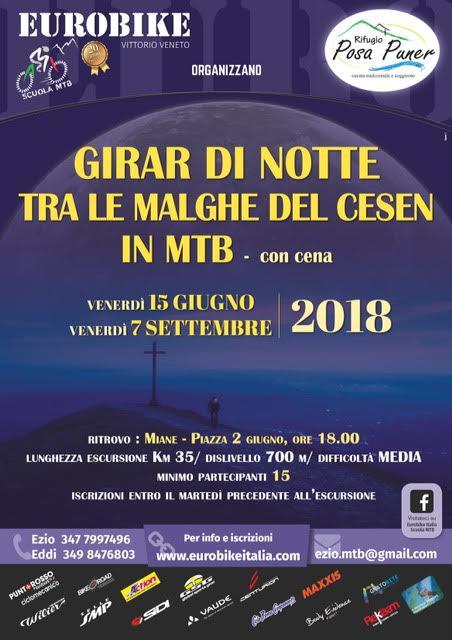 15.06.2018 Escursione Notturna Malghe del Cesen